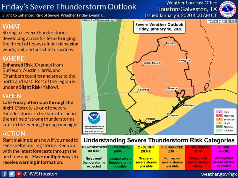 "Houston and several surrounding communities have an ""enhanced"" chance of severe weather Friday, Jan. 10, 2020. Photo: National Weather Service"