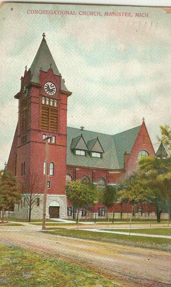 The First Congregational Church is shown in this photograph from the early 1900s.