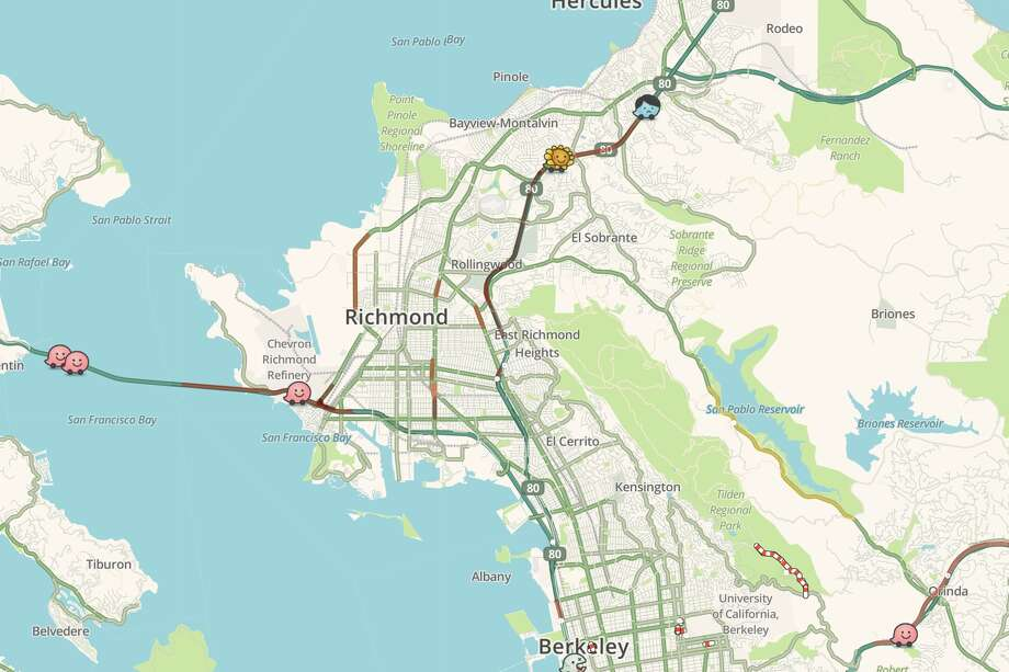 Traffic backed up on WB-80 in Richmond Wednesday morning due to a solo car crash. Photo: Waze