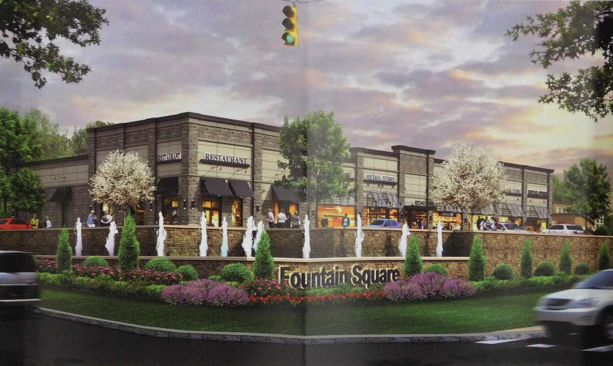 A developer rendering of the proposed Fountain Square building, corner of Bridgeport Avenue and Parrott Drive, that would include a Mission BBQ restaurant.