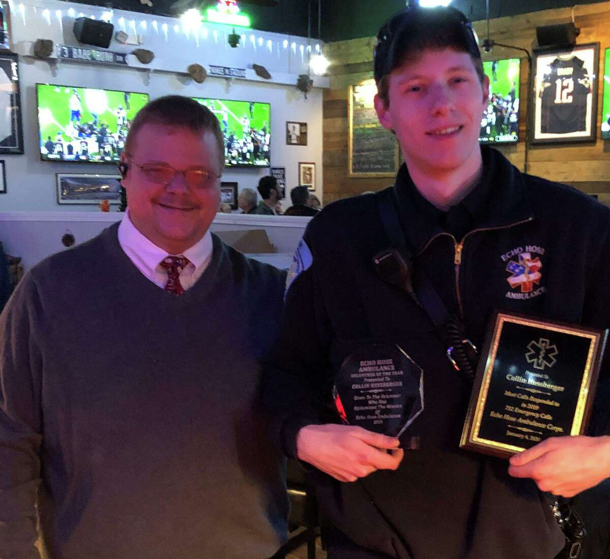 Collin Hessberger, right, has been named Echo Hose Ambulance Corps 2019 Volunteer of the Year. With Hessberger is Echo Hose Ambulance Chief Michael Chaffee.