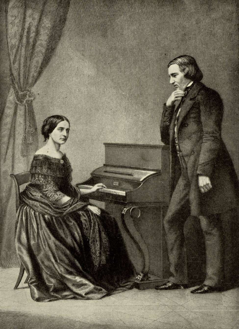 Clara Schumann at piano, with husband Robert (public domain)