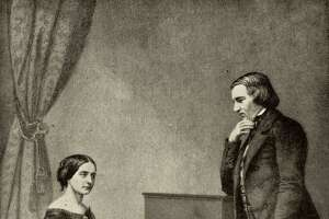 Robert Schumann and his wife Clara at piano (public domain)