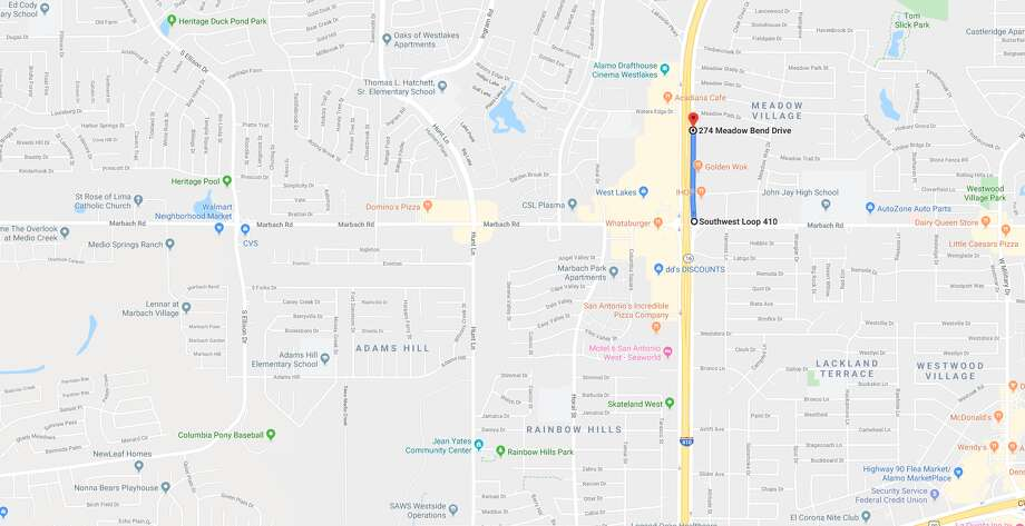 A Loop 410 frontage road will be closed every night until Feb. 25 as CPS Energy performs electric work in the area. The map shows the area that will be affected by the CPS Energy work. Photo: CPS Energy