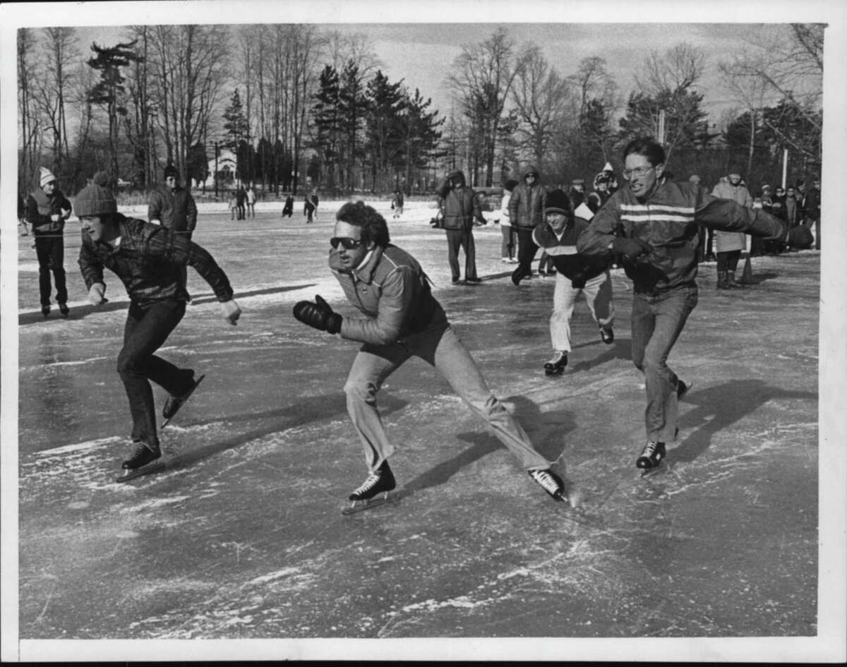 Ann Lee Pond, Colonie, New York - Seniors, 18 and older, boys mile race start - speed skating. January 24, 1981 (Paul D. Kniskern, Sr./Times Union Archive)
