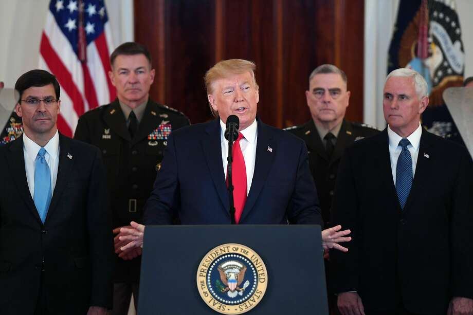 President Donald Trump speaks about the situation with Iran in the Grand Foyer of the White House in Washington, DC, January 8, 2020. Photo: Saul Loeb, AFP Via Getty Images