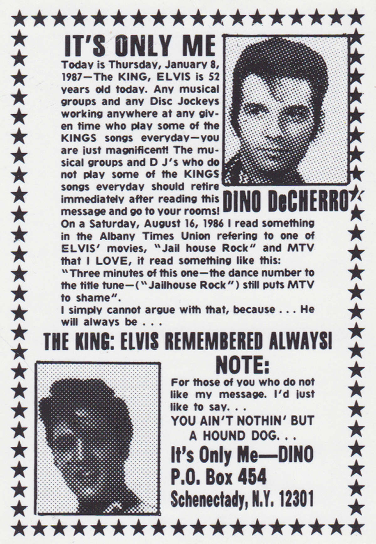 One of many ads Dino De Cherro placed in the Schenectady Gazette, many of them commemorating the birthday of Elvis Presley. (Courtesy Joe Glickman.)