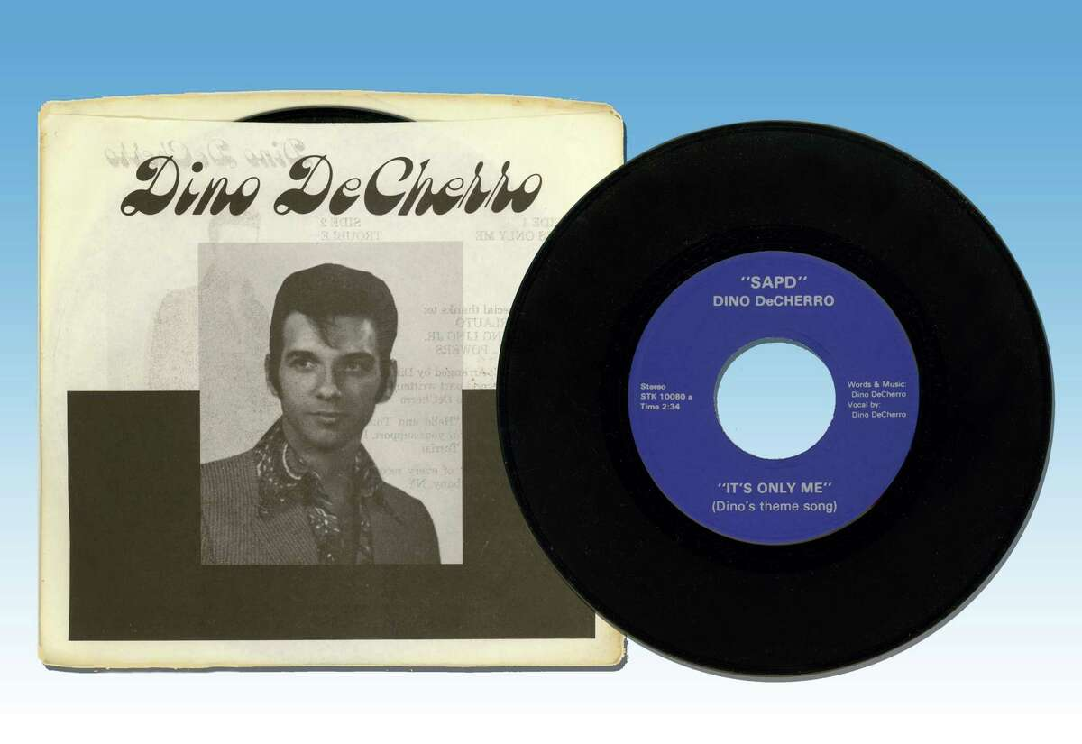 The 45 rpm single and sleeve for Dino De Cherro's self-released single of 1977,