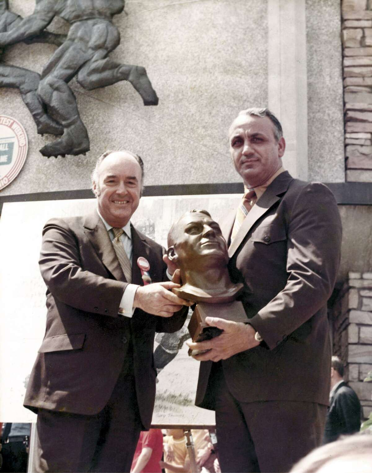 J. Walter Kennedy, left, and Andy Robustelli at Robustelli's induction into the Pro Football Hall of Fame in 1971. Kennedy, a former Stamford mayor, was National Basketball Association commissioner from 1963-1975. Robustelli, an eight-time All-Pro, was a standout with the Los Angeles Rams and New York Giants.