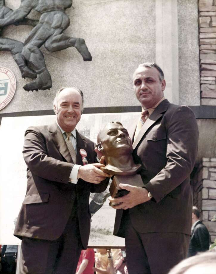J. Walter Kennedy, left, and Andy Robustelli at Robustelli's induction into the Pro Football Hall of Fame in 1971. Kennedy, a former Stamford mayor, was National Basketball Association commissioner from 1963-1975. Photo: File Photo / Stamford Advocate File Photo