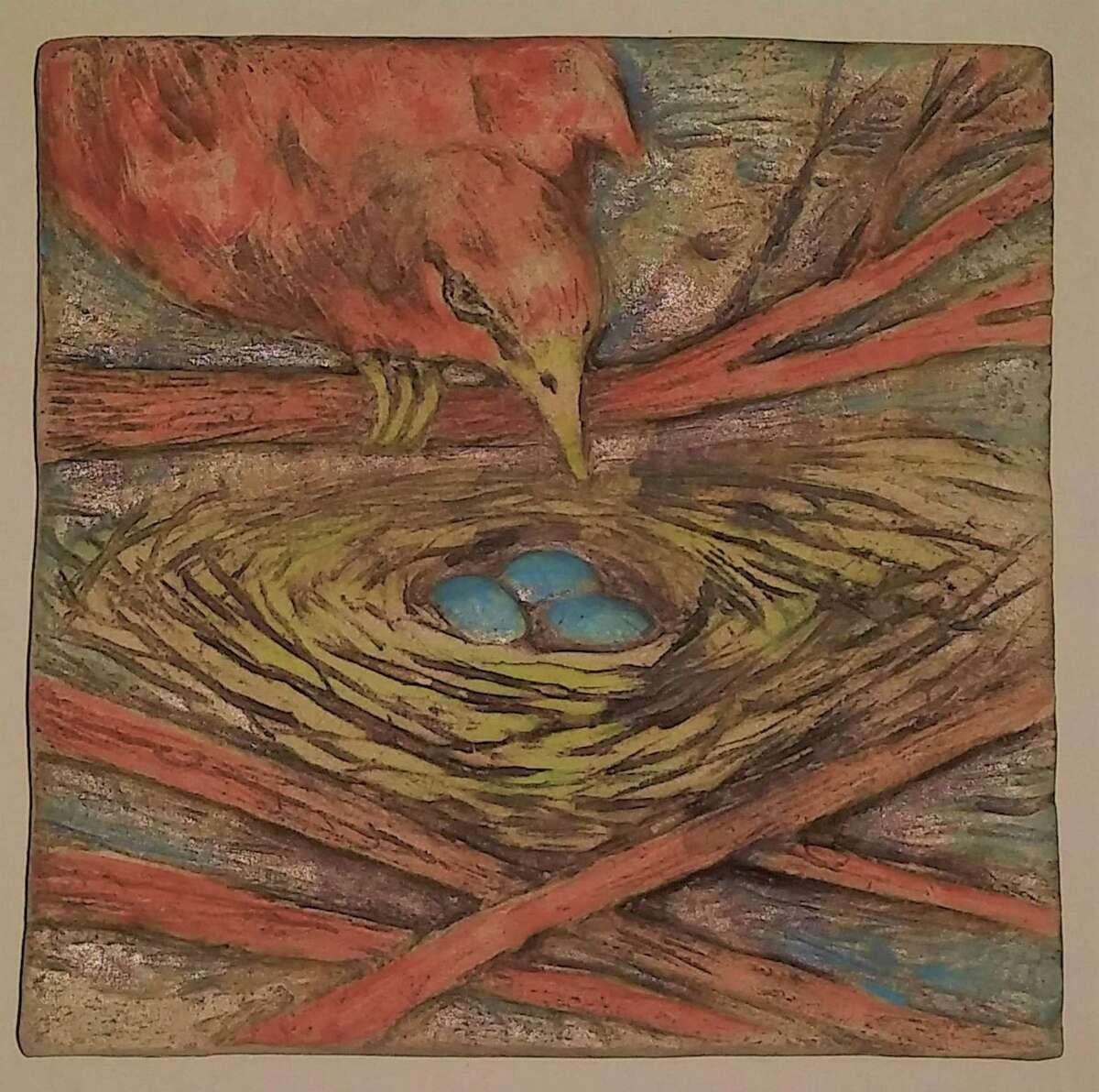 Bird & Nest Tile (7)a€ by Moira O'Grady at Spencertown Academy Arts Center.