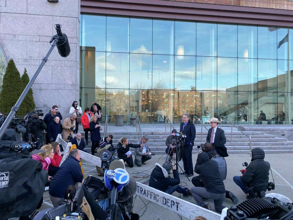 Norm Pattis, attorney for Fotis Dulos, speaks to the media after his client's arraignment at Stamford Superior Court on Wednesday, Jan. 8, 2020.