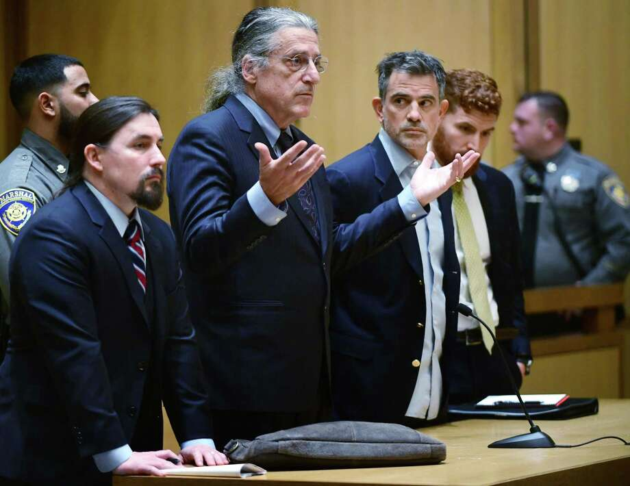 Attorney Norm Pattis, center, speaks to a judge as his client, Fotis Dulos, is arraigned on murder charges on Jan. 8. Photo: Erik Trautmann / Hearst Connecticut Media / Norwalk Hour