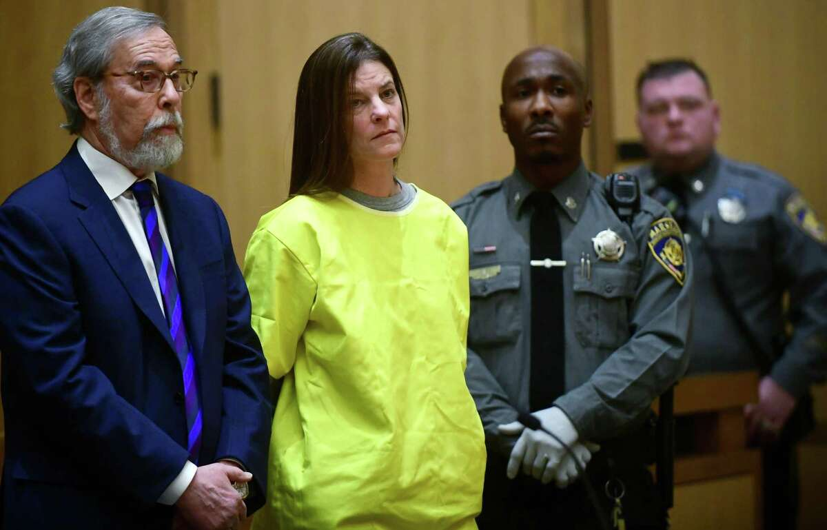 Michelle Troconis is arraigned on conspiracy to commit murder charges in Stamford Superior Court Wednesday, January 8, 2020, in Stamford, Conn.