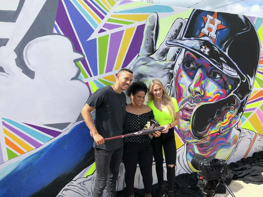 Astros shortstop Carlos Correa is pictured in front of a mural depicting himself that was unveiled Monday at El Malecón in Santa Isabel, Puerto Rico. Photo: Courtesy