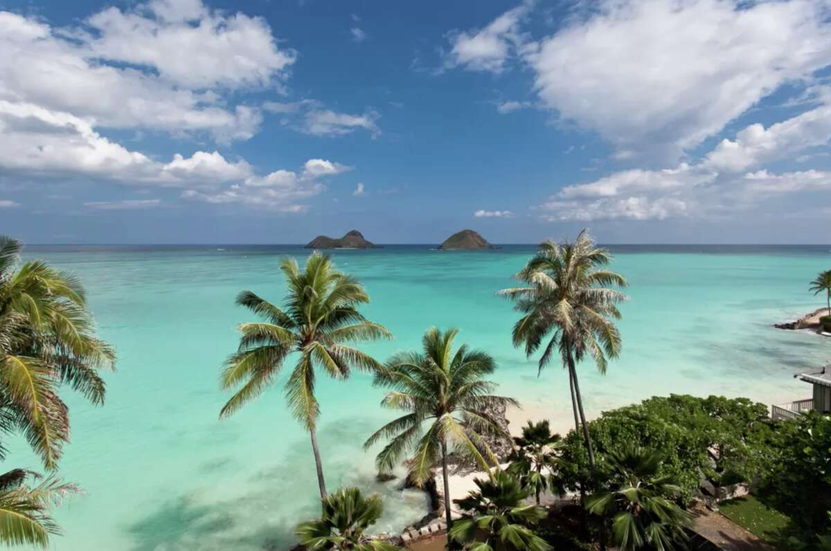 View from a big beach house that sleeps 12 in Lanikai, and includes a registration number on its VRBO listing.