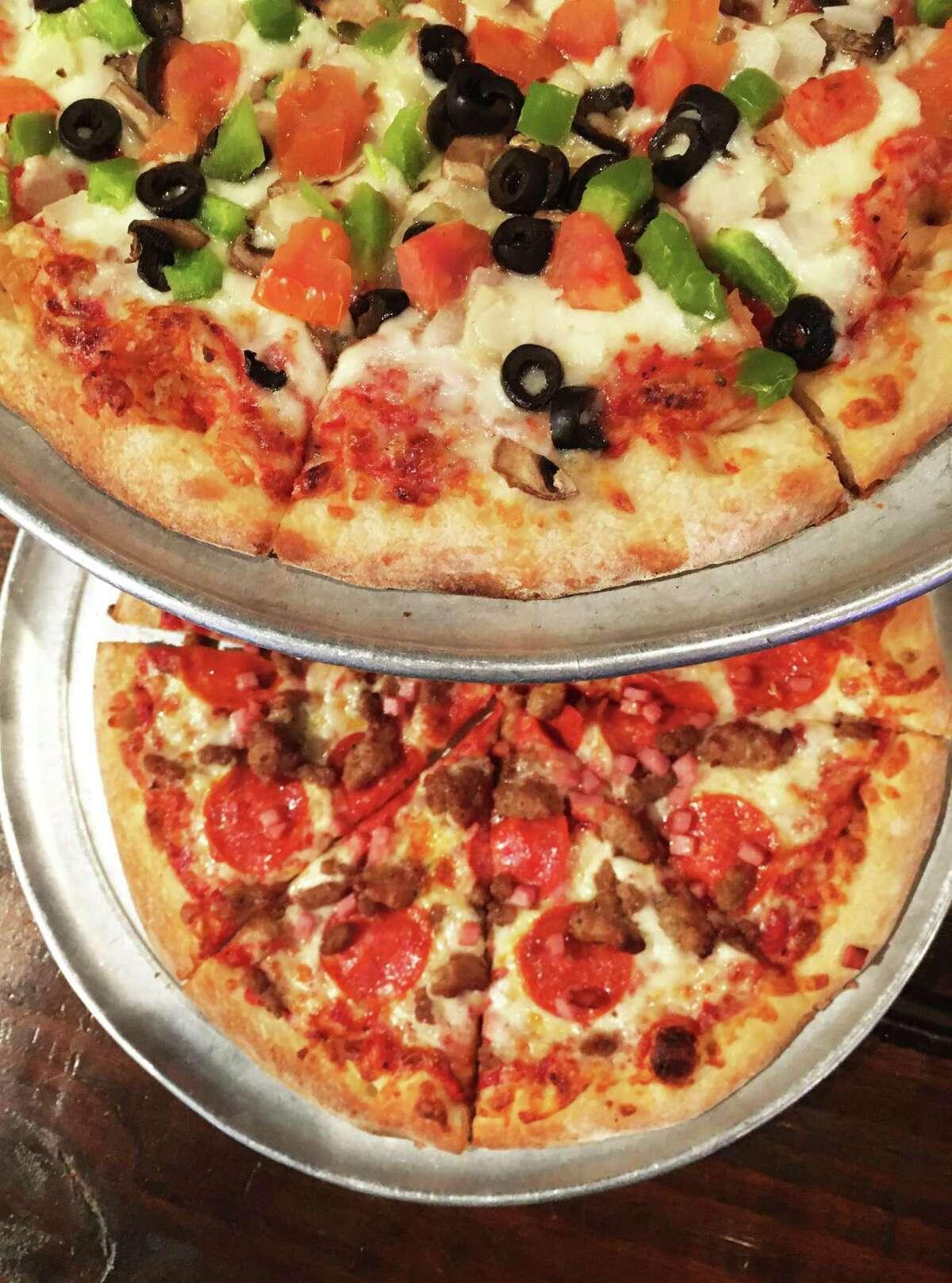 The Veggie Mia (top) and The Meatie Mia at Pizza Italia