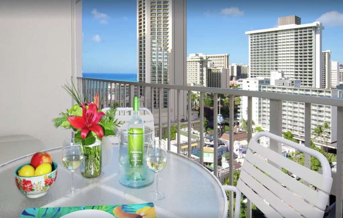 This Waikiki condo that goes for $169 per night on VRBO in February is located in the resort zone so is exempt from Honolulu's local registration laws.