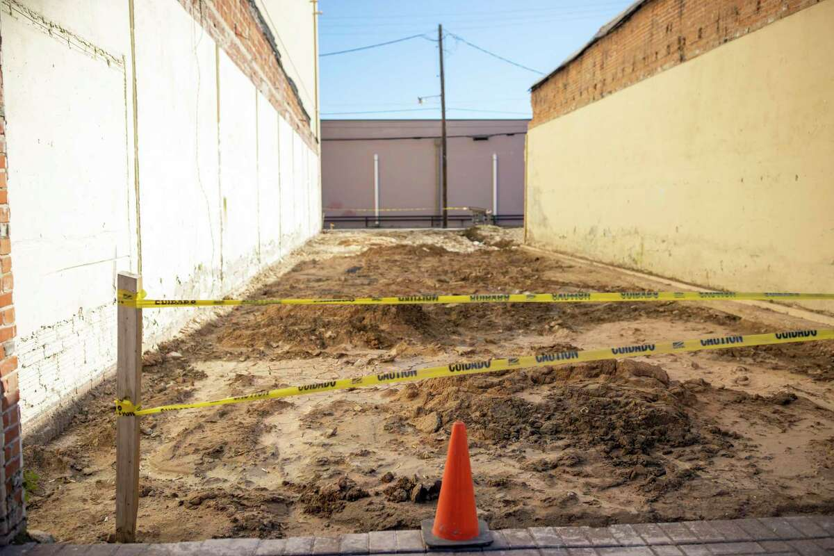 An empty lot along side of the Crighton Theater in Conroe which will house a total of 12 restrooms, Wednesday, Jan. 8, 2020. The theater has faced issues with the condition of soil and hidden slabs which has delayed their original reopening date.
