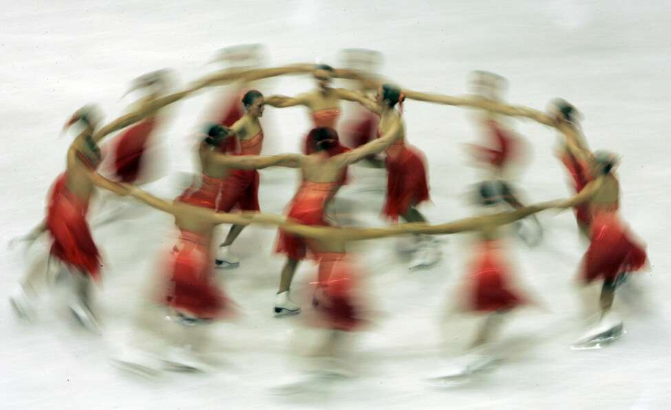 Team Canada 1 performs their short program during the Synchronized Skating World Championships in Zagreb, Croatia, Friday, April 3, 2009. (AP Photo/Darko Bandic)