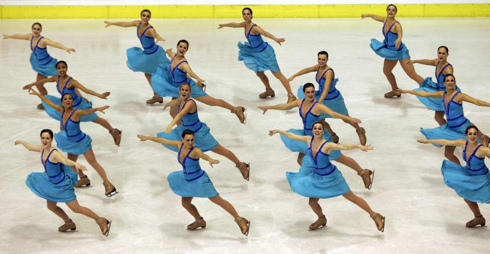 Team U.S. 1 performs their short program during the Synchronized Skating World Championships in Zagreb, Croatia, Friday, April 3, 2009. (AP Photo/Darko Bandic)