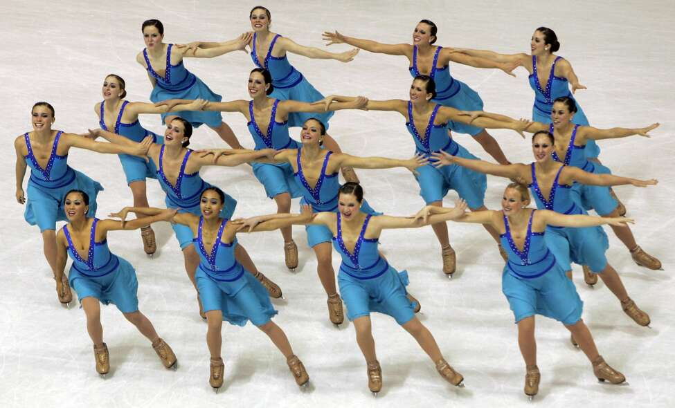 Click through the slideshow to see photos of synchronized skating from competitions from around the world. Team U.S. 1 performs their short program during the Synchronized Skating World Championships in Zagreb, Croatia, Friday, April 3, 2009. (AP Photo/Darko Bandic)
