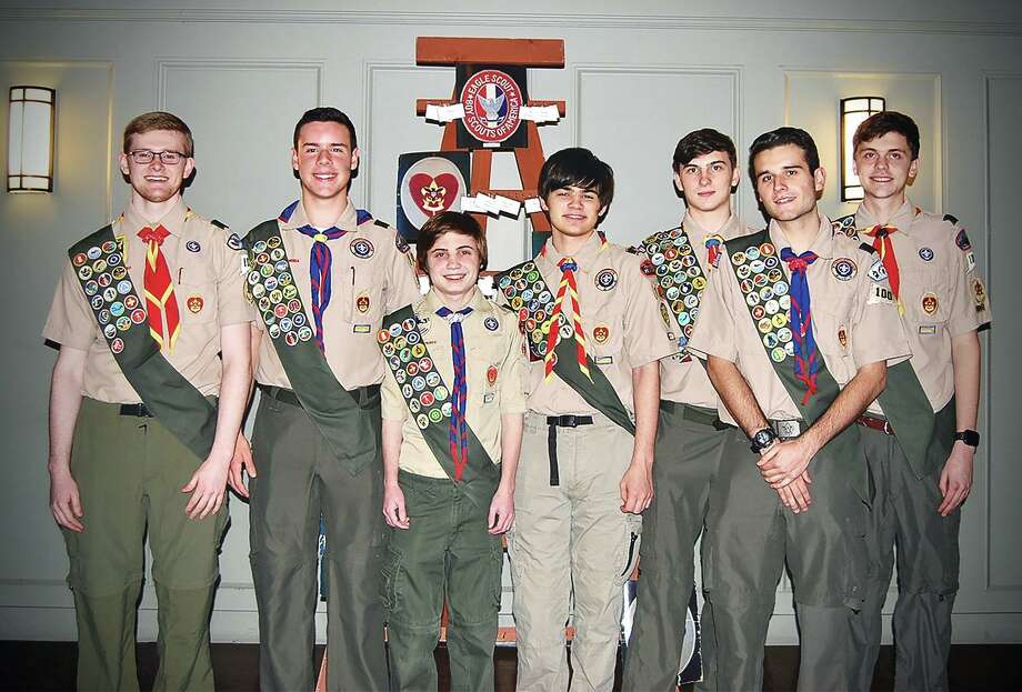 Westport Troop 100 announced the Eagle Scout Award will be presented to seven outstanding Scouts on Jan. 25 from 11 a.m. to 1 p.m. at Christ & Holy Trinity Episcopal Church. The awards will be given to, from left, Jake McGillion-Moore, Matthew Griffin, Dylan Murray, Max Boyle, Daniel Syomichev, Miguel Gura and Whit Lupoli. Photo: Contributed