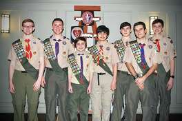 Westport Troop 100 announced the Eagle Scout Award will be presented to seven outstanding Scouts on Jan. 25 from 11 a.m. to 1 p.m. at Christ & Holy Trinity Episcopal Church. The awards will be given to, from left, Jake McGillion-Moore, Matthew Griffin, Dylan Murray, Max Boyle, Daniel Syomichev, Miguel Gura and Whit Lupoli.
