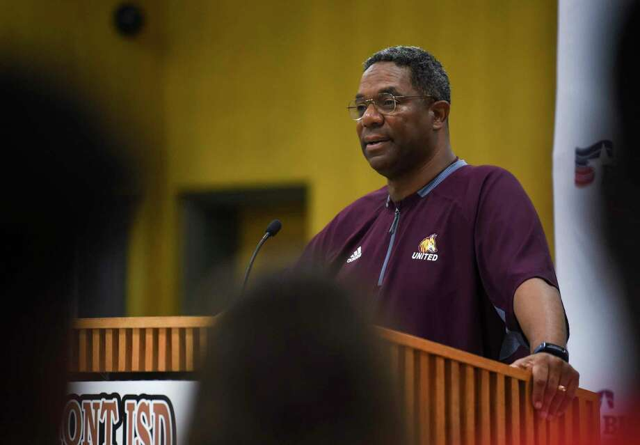 Beaumont United's football coach Arthur Louis talks during the West Brook vs. United football press conference before the Alumni Bowl game in BISD's board room Wednesday. Photo taken on Wednesday, 09/18/19. Ryan Welch/The Enterprise Photo: Ryan Welch, Beaumont Enterprise / The Enterprise / © 2019 Beaumont Enterprise