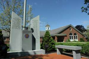 veteran memorial in front of Monroe Town Hall Offices. 7 Fan Hill Road in Monroe, Conn.