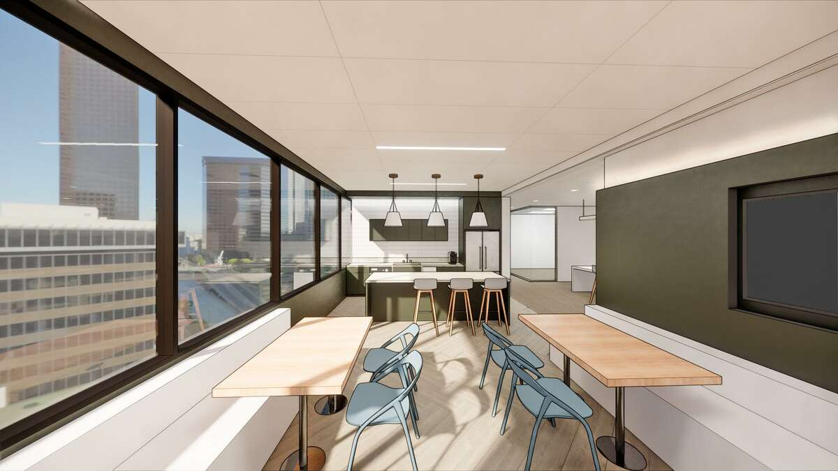 The break room at Read King's new headquarters at 1900 W. Loop South provides space for group gatherings. Kirksey Architecture designed the project.
