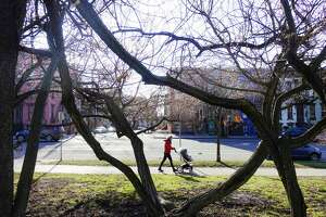 Sun shines through the trees as a woman pushes a infant in a stroller along Madison Ave. on Wednesday, Jan. 8, 2020, in Albany, N.Y.   (Paul Buckowski/Times Union)
