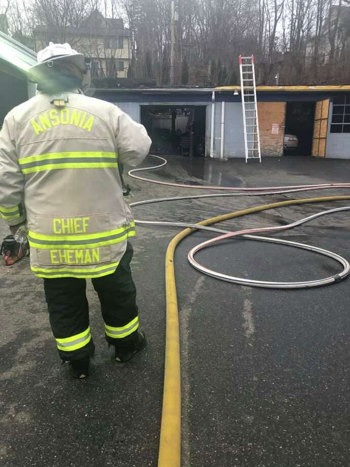Ansonia firefighters quickly extinguished a commercial building fire Tuesday afternoon. Photo: Contributed Photo / Ansonia Eagle Hose & Hook & Ladder Company No. 6