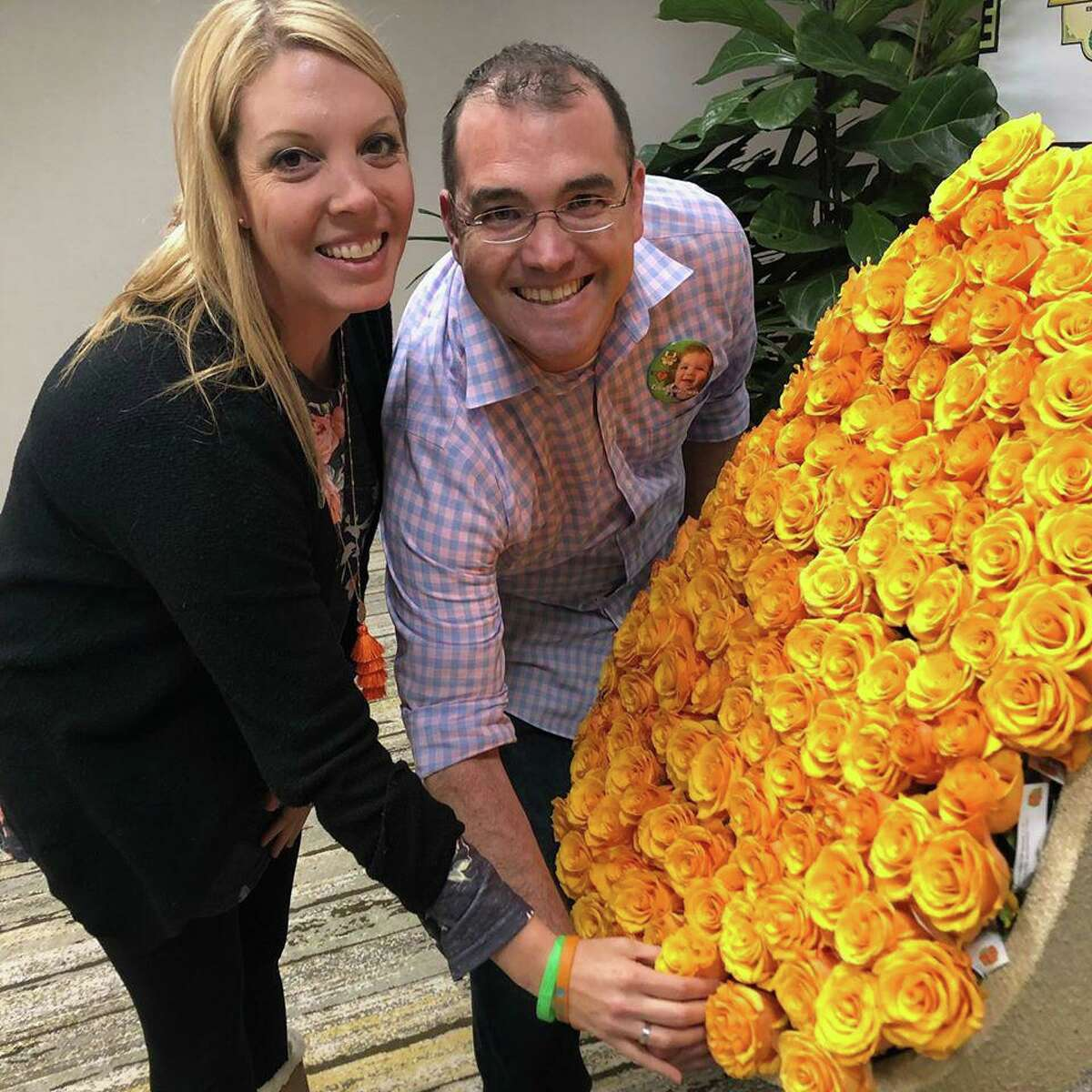 Kristen and Travis Cowan honor their son, Rylen, on the LifeGift float in the Rose Bowl Parade. Rylen saved the lives of five people through organ donation.