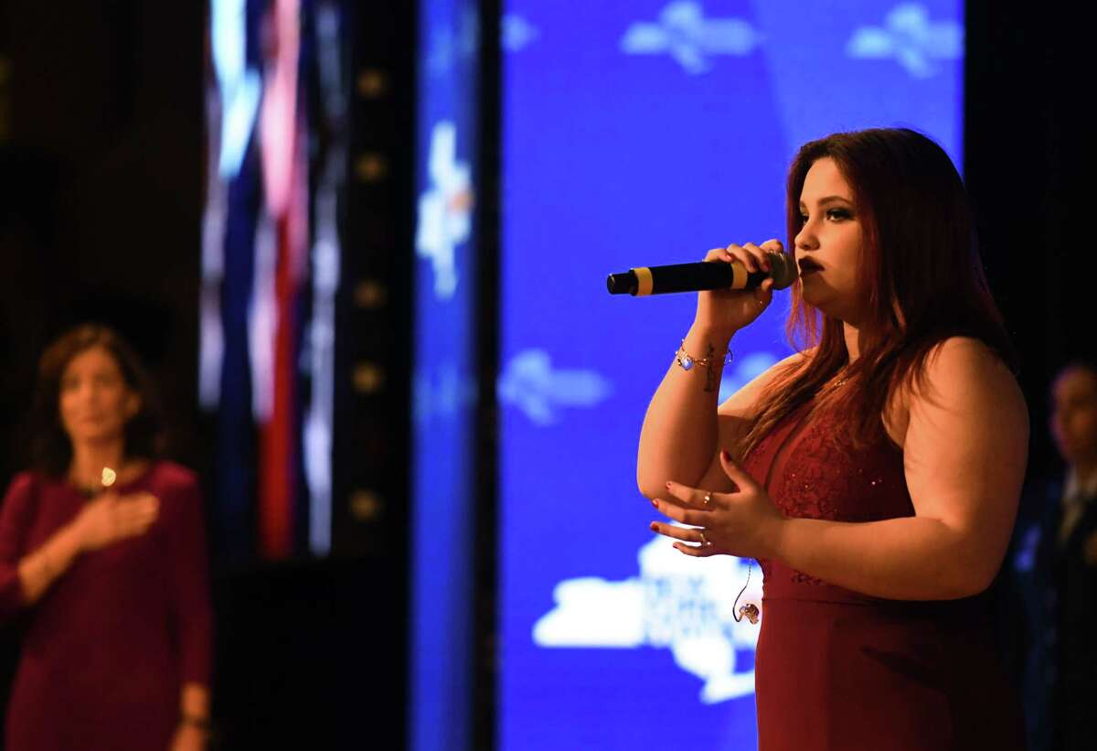 Madison Vandenburg sings the national anthem during Gov. Andrew Cuomo's 2020 State of the State Address on Wednesday, Jan. 8, 2020, at Empire State Plaza Convention Center in Albany, N.Y. (Will Waldron/Times Union)
