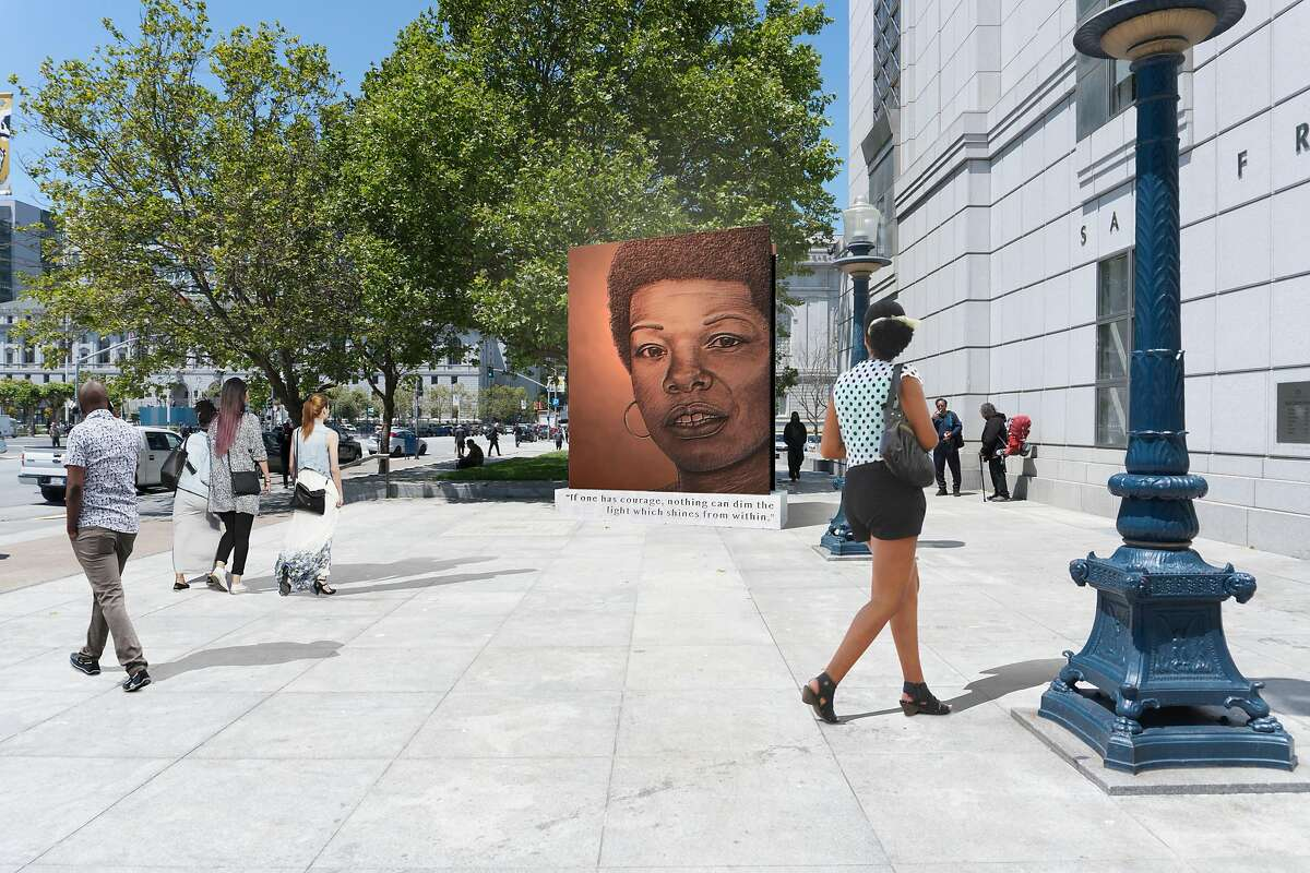 Lava Thomas' proposed monument to Maya Angelou for the San Francisco Public Library. The piece was selected for the project, then rejected by the San Francisco Arts Commission after project sponsor Supervisor Catherine Stefani said she wanted a more traditional statue.