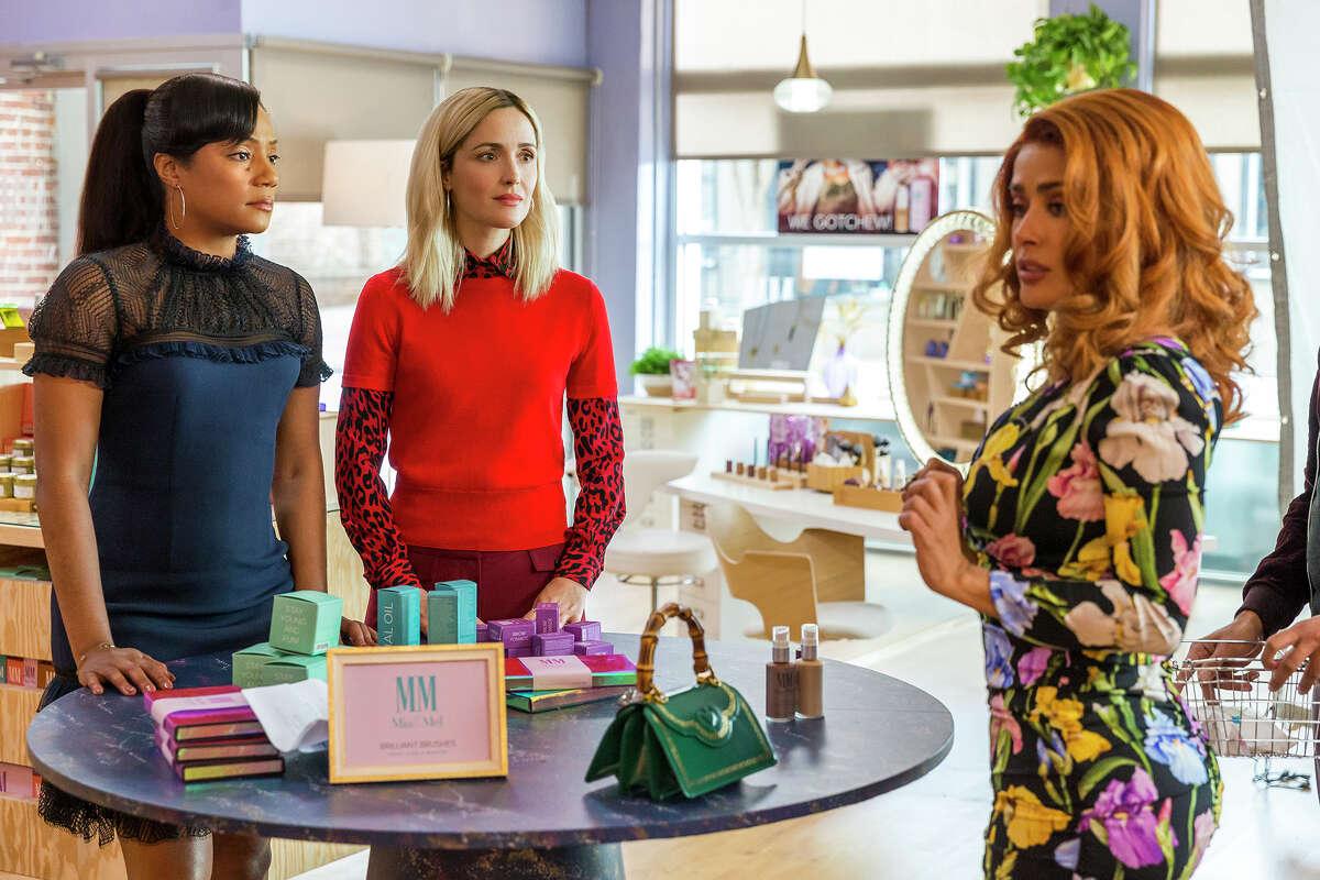 From left, Tiffany Haddish, Rose Byrne and Salma Hayek star in