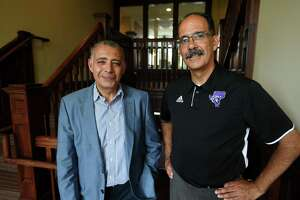 Dean of the College of Engineering, Business, and Education Tarek Sohb, left, and Vice President for Facilities George Estrada in the newly renovated Bauer Hall Innovation Center at the University of Bridgeport in Bridgeport.