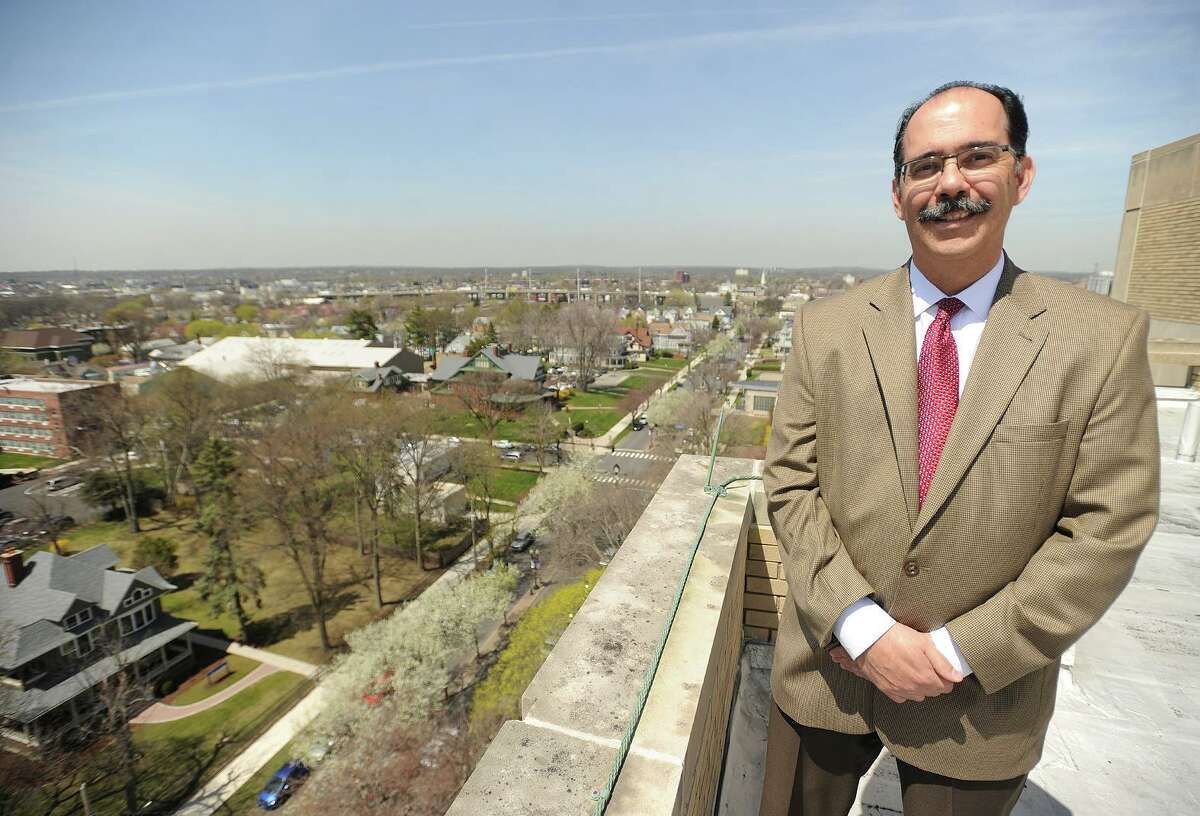 University of Bridgeport Vice President for Facilities George Estrada, who putting together a master plan looking at the university's growth over the next 15 years, high atop the Wahlstrom Library at the school in Bridgeport, Conn. on Thursday, April 21, 2016.