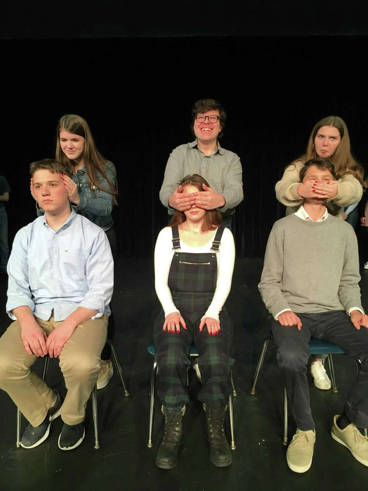 Sarah Bates, Mickey Wilcox, Devin Moran, Liv Becraft, Mairead Kehoe, Anton Rushevich rehearse for Freeplay, presented Jan. 17-18, 2020, in Wilton High School's Little Theater.