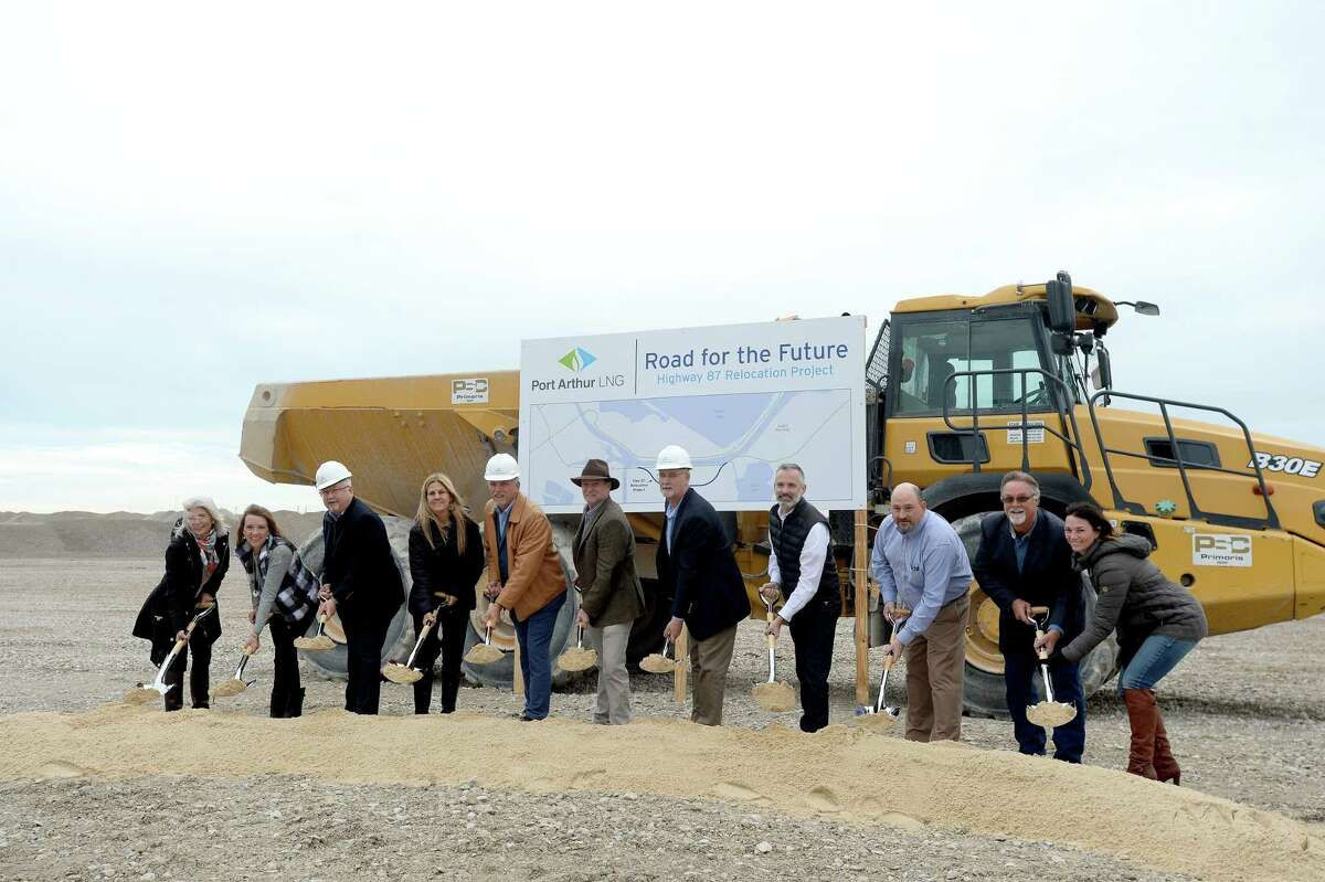 Representatives from Port Arthur LNG, TxDOT, Jefferson County, the City of Port Arthur and Sabine Pass ISD gathered Thursday for a groundbreaking ceremony at the site where U.S. Highway 87 will be relocated. The project will extend the highway between the Intercoastal Waterway and Keith Lake Pass into Sabine Pass, where the Port Arthur LNG export project will be located. Photo taken Thursday, November 14, 2019 Kim Brent/The Enterprise