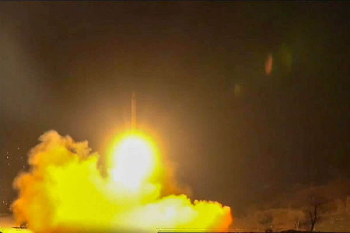 An image grab from footage obtained from the state-run Iran Press news agency on January 8, 2020 allegedly shows rockets launched from the Islamic republic against the US military base in Ein-al Asad in Iraq the prevous night. - Iran fired