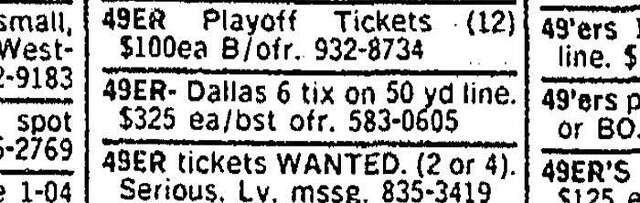 A San Francisco Chronicle classified advertisement from Jan. 7, 1982.