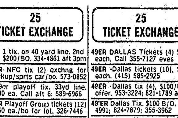 The San Francisco Chronicle classified section from Jan. 7, 1982 included more than 200 sellers of tickets for the game between the 49ers and Dallas Cowboys.