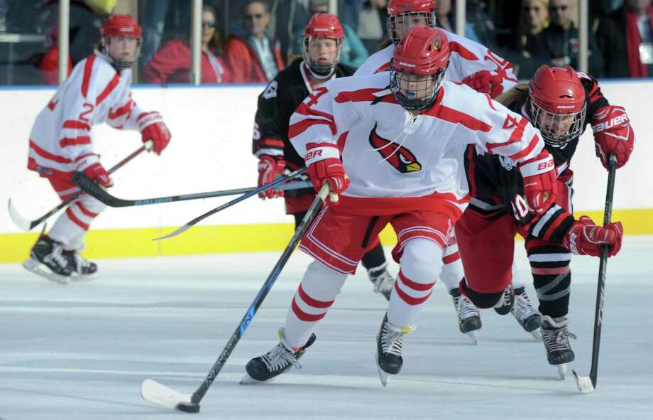 Greenwich Lady Cardinals defeated New Canaan 4-1 in the 3rd Annual Ice Hockey Winter Classic at the Greenwich Skating Club in Greenwich, Conn. on Dec. 28, 2019. Photo: Matthew Brown / Hearst Connecticut Media / Stamford Advocate