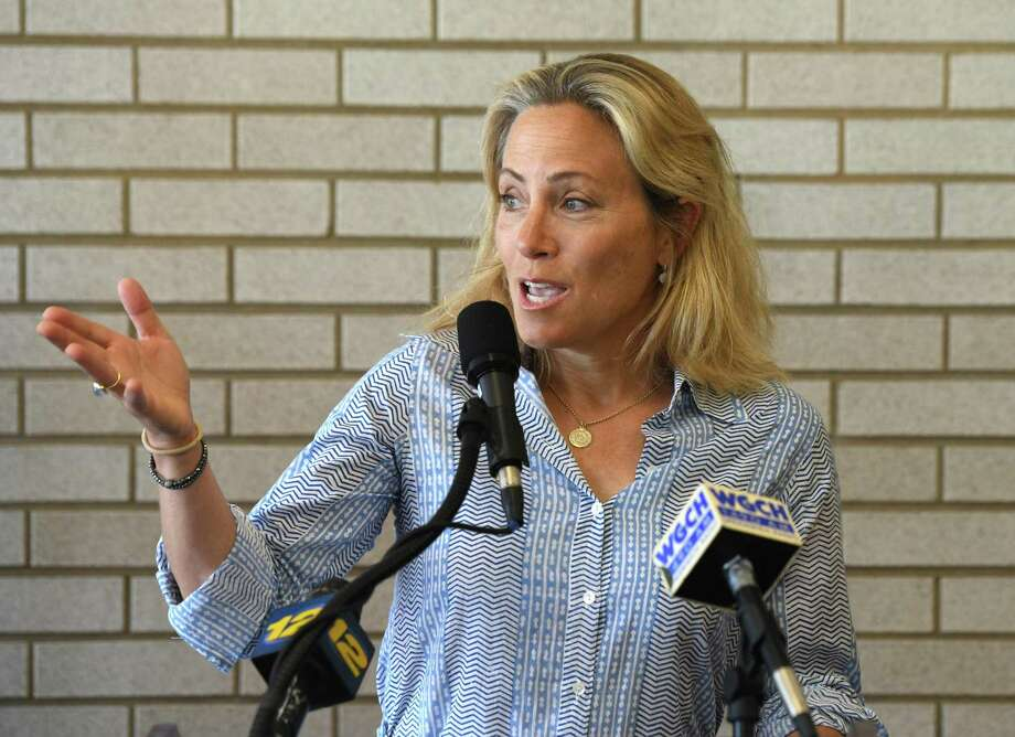 State Sen. Alex Bergstein, D-Greenwich, speaks of a proposed new train station in July. Photo: Tyler Sizemore / Hearst Connecticut Media / Greenwich Time