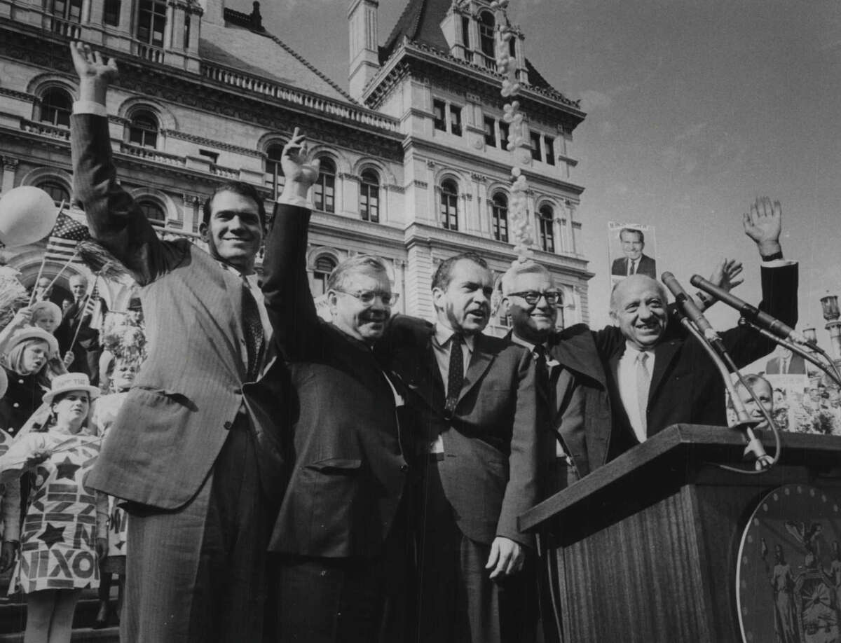 US Congressman Dan Button on podium during Richard Nixon's visit to Albany, New York. 1968 (Bob Richey/Times Union Archive)
