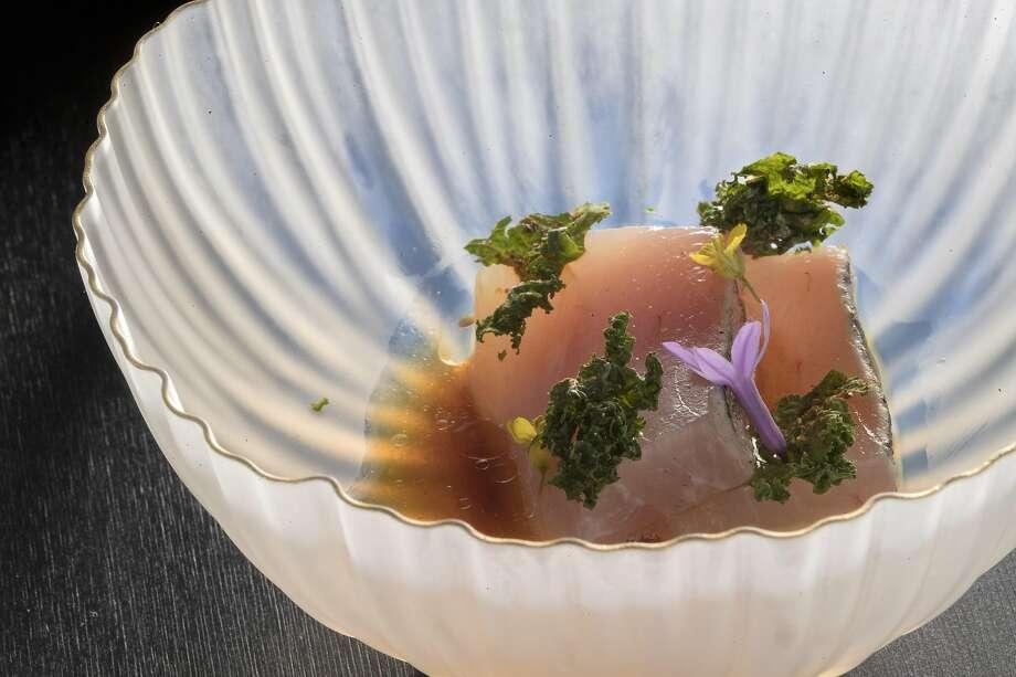 Albacore tataki with Wagyu garum and kale nori at Ittoryu Gozu restaurant in S.F. Photo: Carlos Avila Gonzalez / The Chronicle 2019