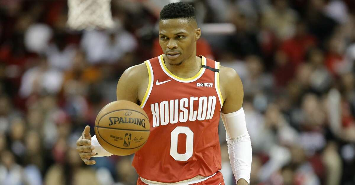 Houston Rockets guard Russell Westbrook dribbles during the first half of an NBA basketball game against the Philadelphia 76ers, Friday, Jan. 3, 2020, in Houston. (AP Photo/Eric Christian Smith)