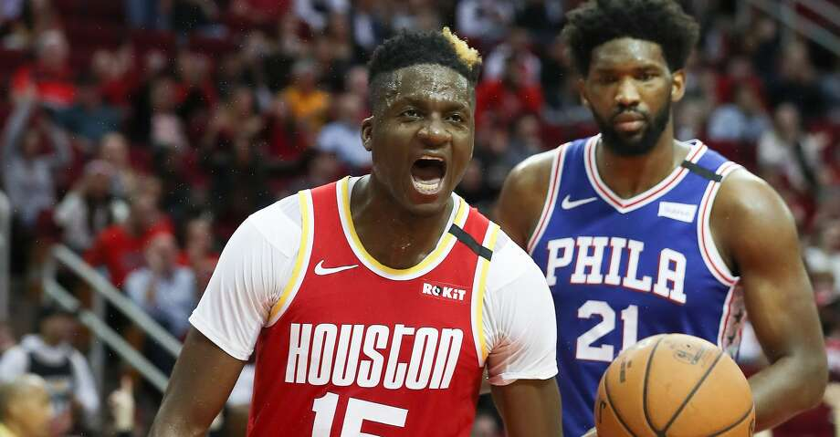 Rockets center Clint Capela is doubtful for Monday's game at Utah because of a bruised right heel. Photo: Steve Gonzales/Staff Photographer